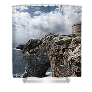 Stunning Tower Over The Cliffs Of Alcafar In Minorca Island - Tower And Sea Shower Curtain