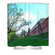 Tower And Wall From Park Outside Kremlin In Moscow-russia Shower Curtain