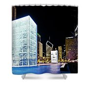 Tower Blue Shower Curtain