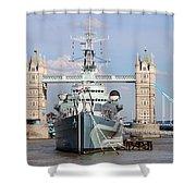 Tower Bridge And Battleship 5863 Shower Curtain