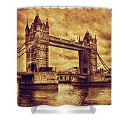 Tower Bridge In London Uk Vintage Style Shower Curtain