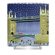 Tower Bridge Skating On Thin Ice Shower Curtain