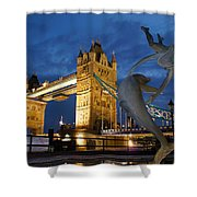 Tower Bridge The Dolphin And The Girl Shower Curtain