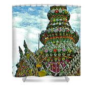 Tower Closeup Of Buddhist Temple At Grand Palace Of Thailand  Shower Curtain