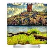 Tower On The Bluff Shower Curtain
