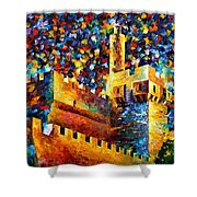 Tower - Palette Knife Oil Painting On Canvas By Leonid Afremov Shower Curtain