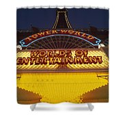 Tower World . Worlds Of Entertainment Shower Curtain