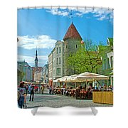 Towers As Gateways To Old Town Tallinn-estonia Shower Curtain