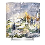 Town By The Rhine Falls In Switzerland Shower Curtain