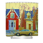 Town Houses In Winter Suburban Side Street South West Montreal City Scene Pointe St Charles Cspandau Shower Curtain