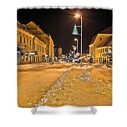 Town In Deep Snow On Christmas  Shower Curtain