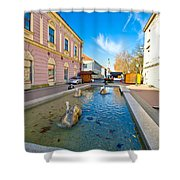 Town Of Bjelovar Square Fountain Shower Curtain