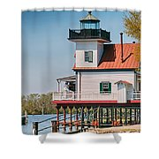 Town Of Edenton Roanoke River Lighthouse In Nc Shower Curtain