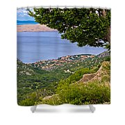 Town Of Karlobag And Island Of Pag Shower Curtain