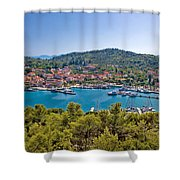 Town Of Kukljica Aerial View Shower Curtain