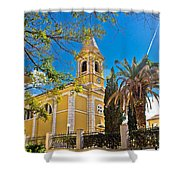 Town Of Novalja Church Pag Island Shower Curtain
