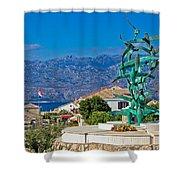 Town Of Razanac With Velebit Background Shower Curtain