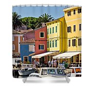 Town Of Veli Losinj Colorful Waterfront Shower Curtain