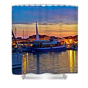 Town Of Vodice Harbor And Monument Shower Curtain