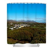 Town On A Hill With 12 Pin Mountain Shower Curtain