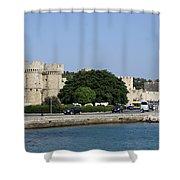 Town Wall - Rhodos City Shower Curtain