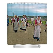 Townsfolk On Main Street In Louisbourg Living History Museum-174 Shower Curtain