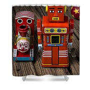 Toy Robot And Train Shower Curtain