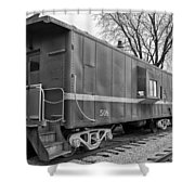Tpw Rr Caboose Black And White Shower Curtain