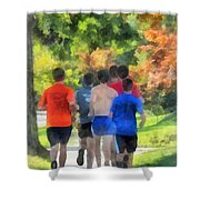 Track Practice Shower Curtain by Susan Savad