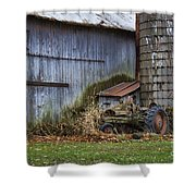 Tractor And Barn On Cloudy Day Shower Curtain