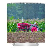 Tractor In A Corn Field Shower Curtain