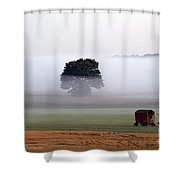 Tractor In Field Low Fog With Tree And Harvester Shower Curtain