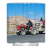 Tractor Towing A Wagon Along The Road To Shigatse-tibet Shower Curtain