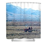 Tractor Used In Farming Along The Road To Shigatse-tibet Shower Curtain