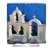 Traditional Belfry In Oia Town Shower Curtain