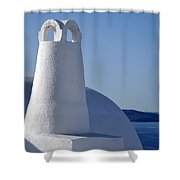 Traditional Chimney In Oia Town Shower Curtain