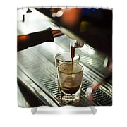 Traditional Espresso Coffee And Machine  Shower Curtain