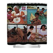 Traditional Pacific Handicrafts Postage Stamp Print Shower Curtain