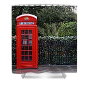 Traditional Red Telephone Box In London Shower Curtain