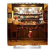 Traditional Seasons Greetings Shower Curtain