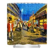 Traditional Shopping Area Shower Curtain
