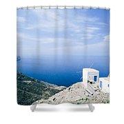 Traditional Windmill On Karpathos Island - Greece Shower Curtain