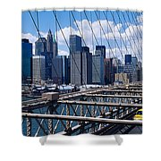 Traffic On A Bridge, Brooklyn Bridge Shower Curtain