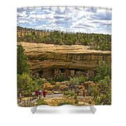 Trail View Of Spruce Tree House On Chapin Mesa In Mesa Verde National Park-colorado Shower Curtain