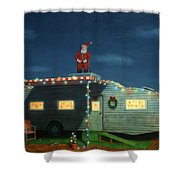 Trailer House Christmas Shower Curtain