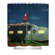 Trailer House Christmas Shower Curtain