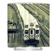 Train Approaching Shower Curtain