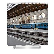 Train At Station Platform Budapest Hungary Shower Curtain
