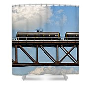 Train Cars On The Bridge Shower Curtain