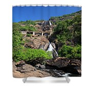 Train Crossing Dudhsagar Falls Shower Curtain